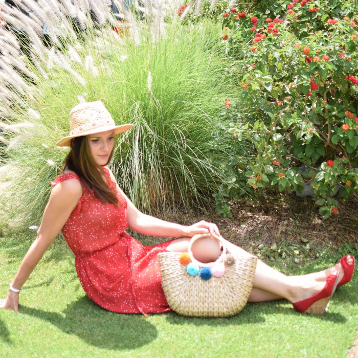 SHEIN Ruffle Strap & Hem Button Up Dress, Lucky Brand Hat, Straw Hat, Red Platforms (1)