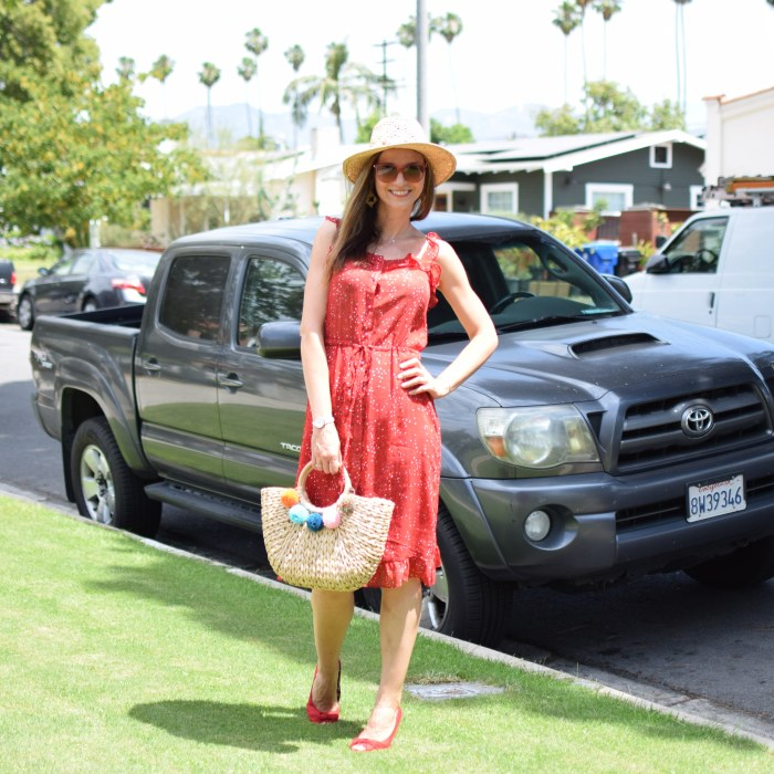SHEIN Ruffle Strap & Hem Button Up Dress, Lucky Brand Hat, Straw Hat, Red Platforms (5)