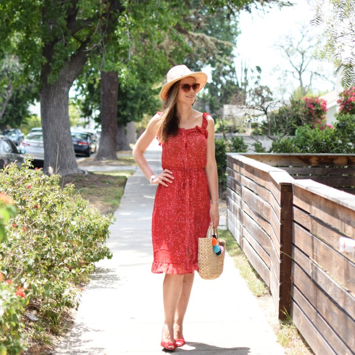 SHEIN Ruffle Strap & Hem Button Up Dress, Lucky Brand Hat, Straw Hat, Red Platforms (7)