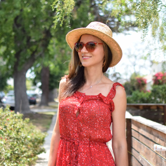 SHEIN Ruffle Strap & Hem Button Up Dress, Lucky Brand Hat, Straw Hat, Red Platforms (8)